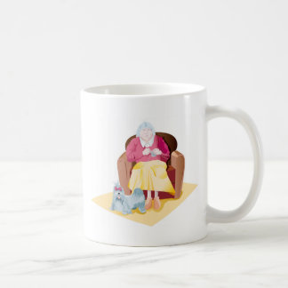 Large the mother who knits with her dog coffee mug