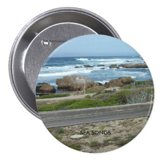 Large three inch round button with text
