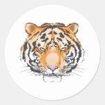 Large Tiger Head Classic Round Sticker