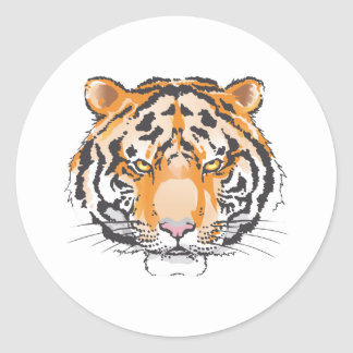 Large Tiger Head Classic Round Sticker