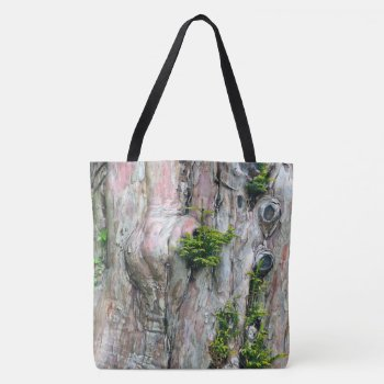 Large Tote Bag/tree Trunk With Knot-holes & Moss by whatawonderfulworld at Zazzle