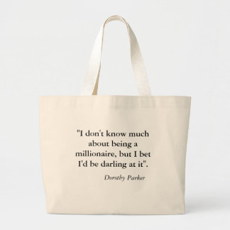 Large Tote Bag with Dorothy Parker Quote