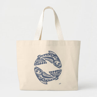 Large Tote Bag With Fish Graphic