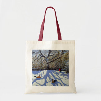 Large tree and tobogganers Youlgreave Tote Bag