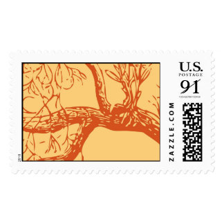 Large Tree branches in orange Postage Stamps