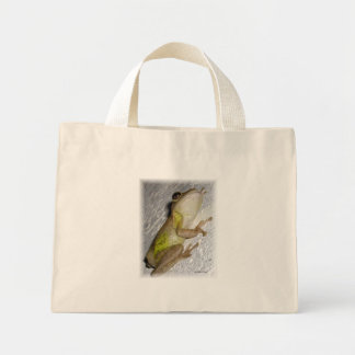 Large tree frog clinging to stucco wall photo canvas bags