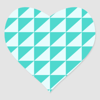 Large Triangles - Celeste and Turquoise Heart Sticker