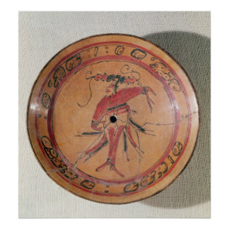 Large tripodal dish depicting an actor or dancer poster