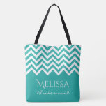 """Large turquoise chevron zig zag stripe bridesmaids tote bag<br><div class=""""desc"""">Elegant turquoise and white chevron zig zag stripe bridesmaids tote bags. Stylish zigzag print with personalized name, monogram or funny quote. Modern pattern design for bride and brides crew or entourage. Customizable background color. Cute DIY wedding accessory for bridal party team; brides maids, maid of honor, mother of the bride,...</div>"""