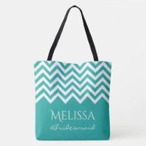 Large turquoise chevron zig zag stripe bridesmaids tote bag