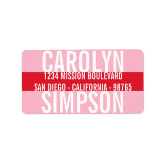 Large type bold red pink candy color stripe modern custom address labels
