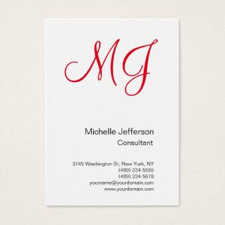 Large Unique Monogram White Red Business Card