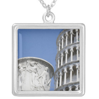 Large urn next to Leaning Tower of Pisa, Italy Silver Plated Necklace