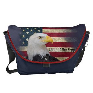 Large US Flag with Bald Eagle. Land of the Free Messenger Bag