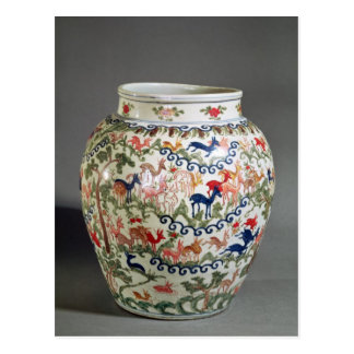 Large vase decorated with five colours postcard