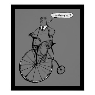 Large Vintage Bear on Penny Farthing Poster