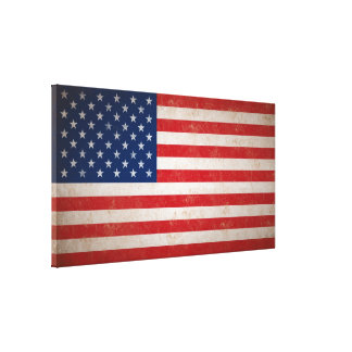 Large Vintage Grunge Style American Flag Canvas