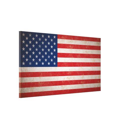 Large Vintage Grunge Style American Flag Canvas Stretched Canvas Print