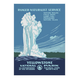 Large Vintage Yellowstone WPA Travel 20x28 Poster