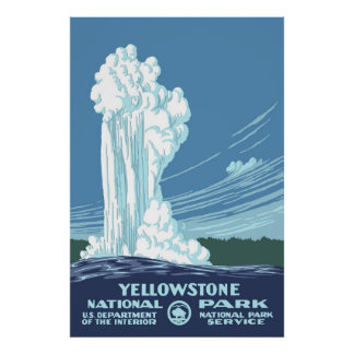 Large Vintage Yellowstone WPA Travel Poster