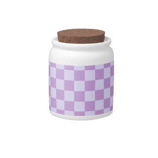 Large-Violet1-Wisteria a cuadros y lavanda pálida Jarras Para Caramelos