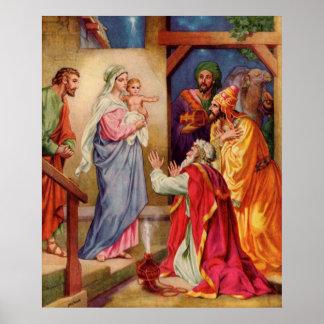 Large,Visit of Wisemen Christian Christmas Art Posters