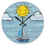 Large wall clock Driftwood Beach design