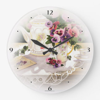 Large Wall clock with Painting of Victorian Tea