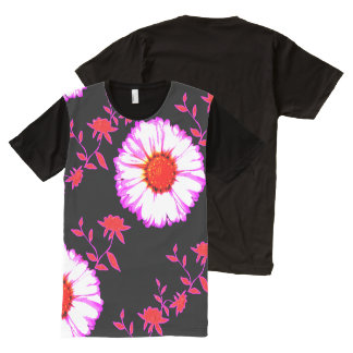 Large Wall Flowers on Black All-Over Print T-shirt