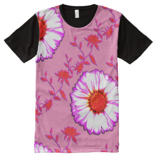 Large Wall Flowers on Pink All-Over Print Shirt