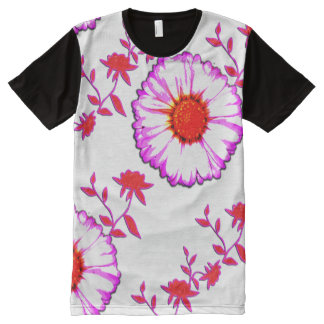 Large Wall Flowers on White All-Over Print T-shirt