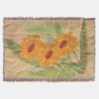 Large Watercolor Daisies Throw Blanket