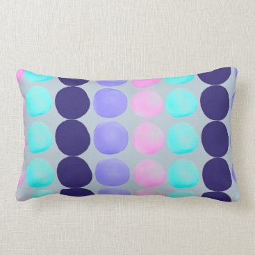 Beach Themed Large watercolor dots lumbar pillow