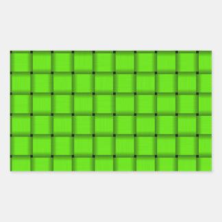 Large Weave - Bright Green Rectangular Sticker