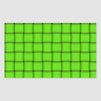 Large Weave - Bright Green Rectangle Stickers