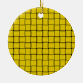 Large Weave - Golden Yellow Double-Sided Ceramic Round Christmas Ornament