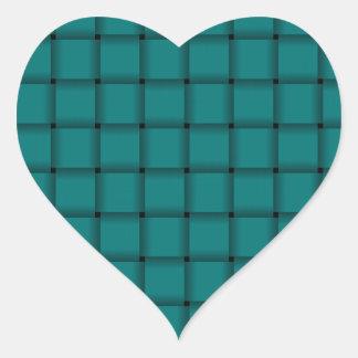Large Weave - Teal Heart Sticker