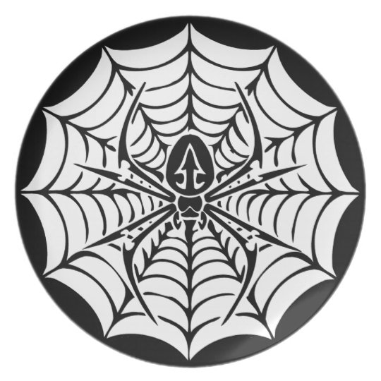 Large web with spider dinner plate