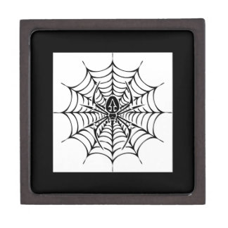 Large web with spider jewelry box