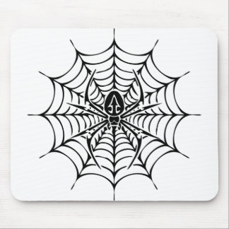 Large web with spider mouse pad