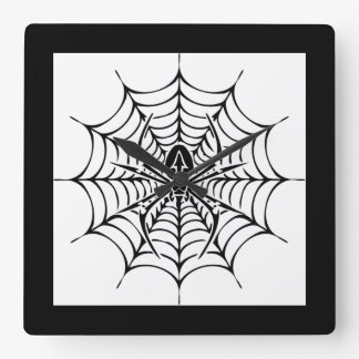 Large web with spider square wall clock