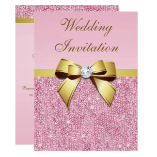 Large Wedding Faux Pink Sequins Gold Bow Card