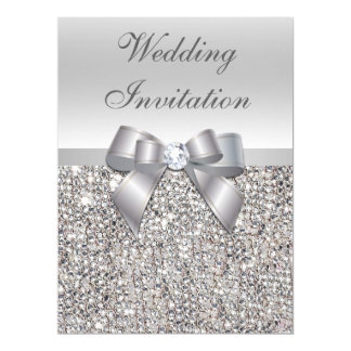 Large Wedding Faux Silver Sequins Bow Invitations