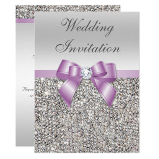 Large Wedding Faux Silver Sequins Lilac Bow Card