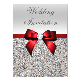 Large Wedding Faux Silver Sequins Red Bow Invitation