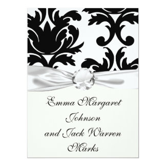 large white and black bold damask 6.5x8.75 paper invitation card