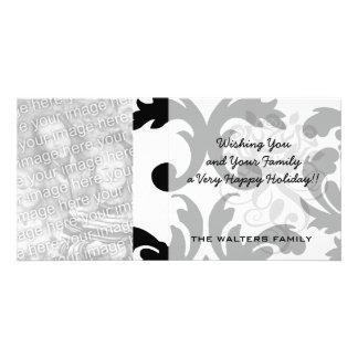 large white and black bold damask card