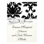 large white and black bold damask custom invites