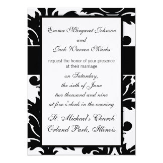 large white and black bold damask design custom announcements