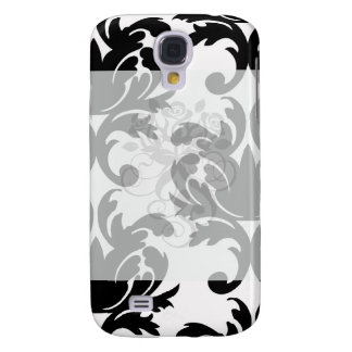 large white and black bold damask galaxy s4 cover